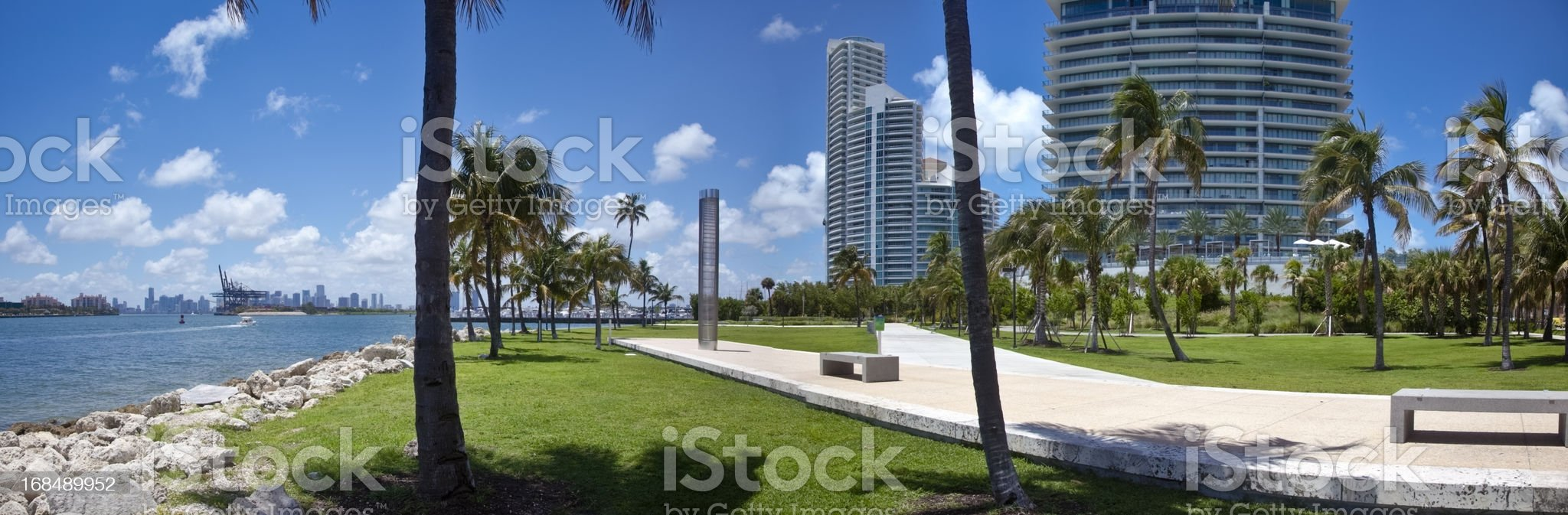 South Beach Park, Miami - Path, Benches, Palms, and Water royalty-free stock photo