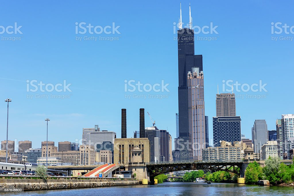 South Branch of the Chicago River stock photo