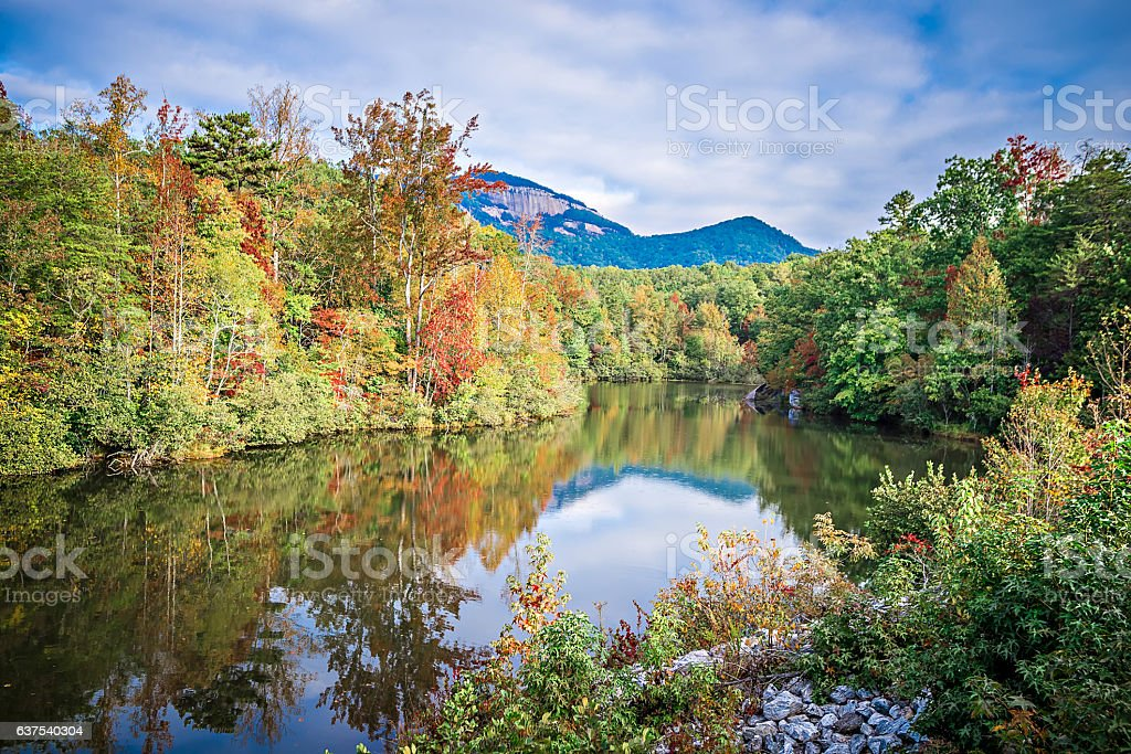 South Carolina Autumn Sunrise Landscape Table Rock Fall Foliage stock photo