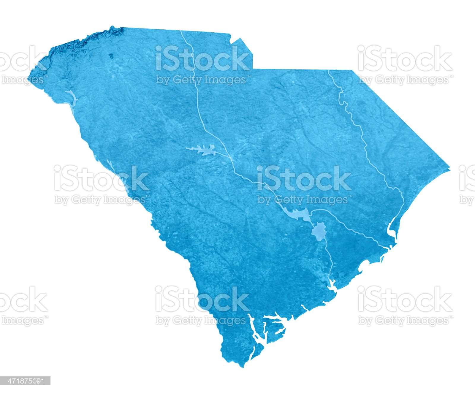 South Carolina Topographic Map Isolated royalty-free stock photo