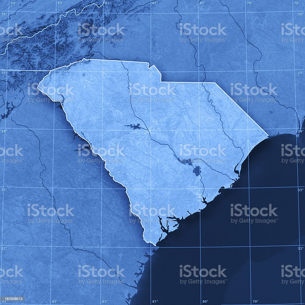 South Carolina Topographic Map stock photo