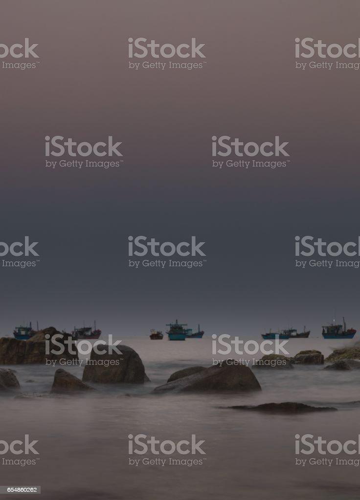 South China Sea Morning Glow Vietnam stock photo