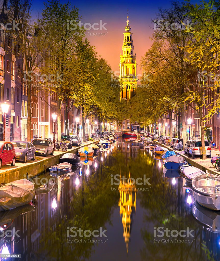 South Church Zuiderkerk and Amsterdam Canals at dusk stock photo