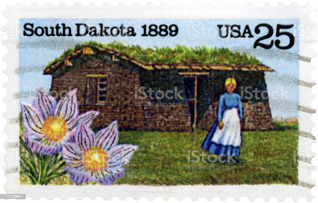 South Dakota 1889 Sod Roof Cabin Postage Stamp stock photo