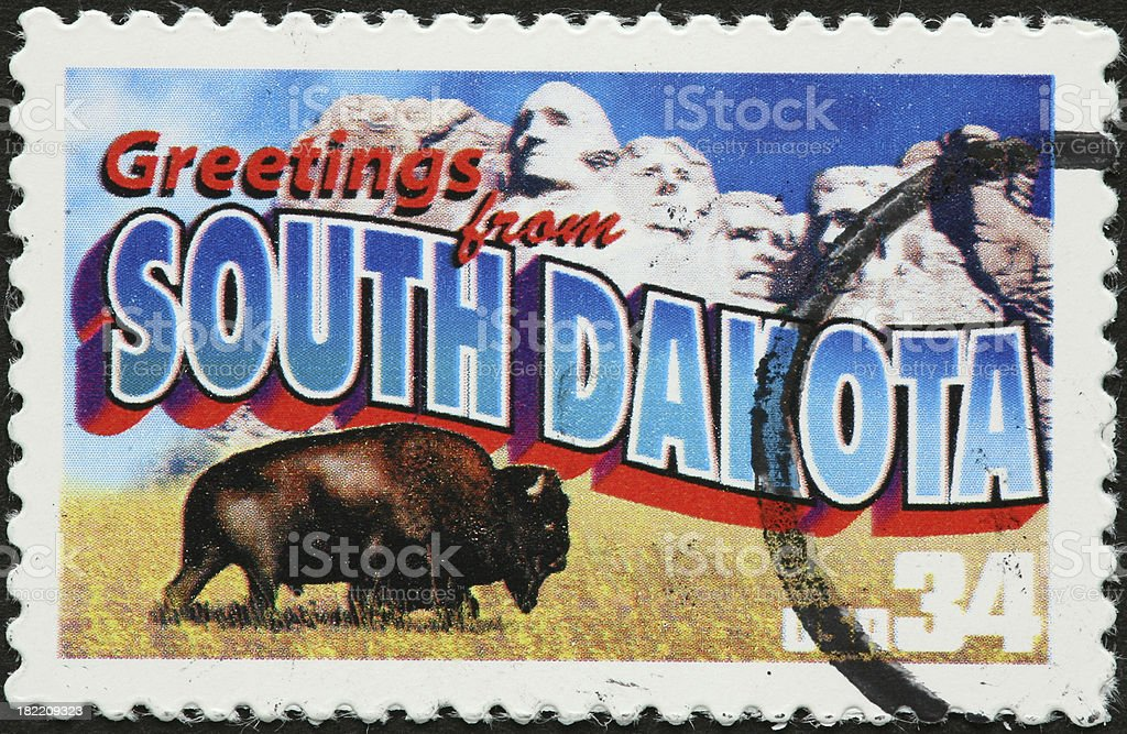 South Dakota bison and Mount Rushmore royalty-free stock photo