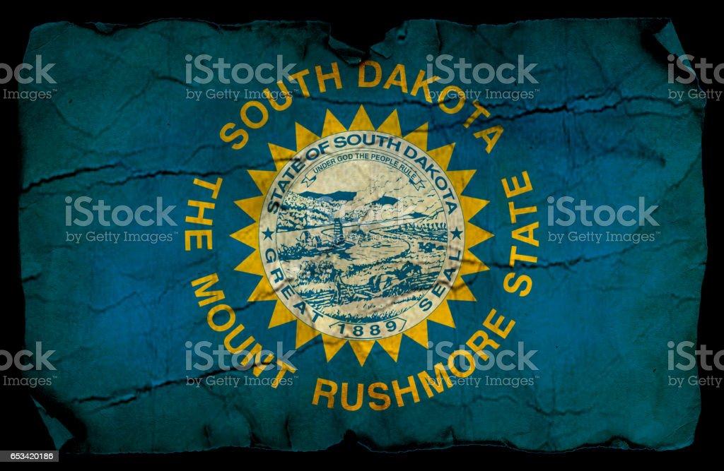 South Dakota State grunge flag stock photo
