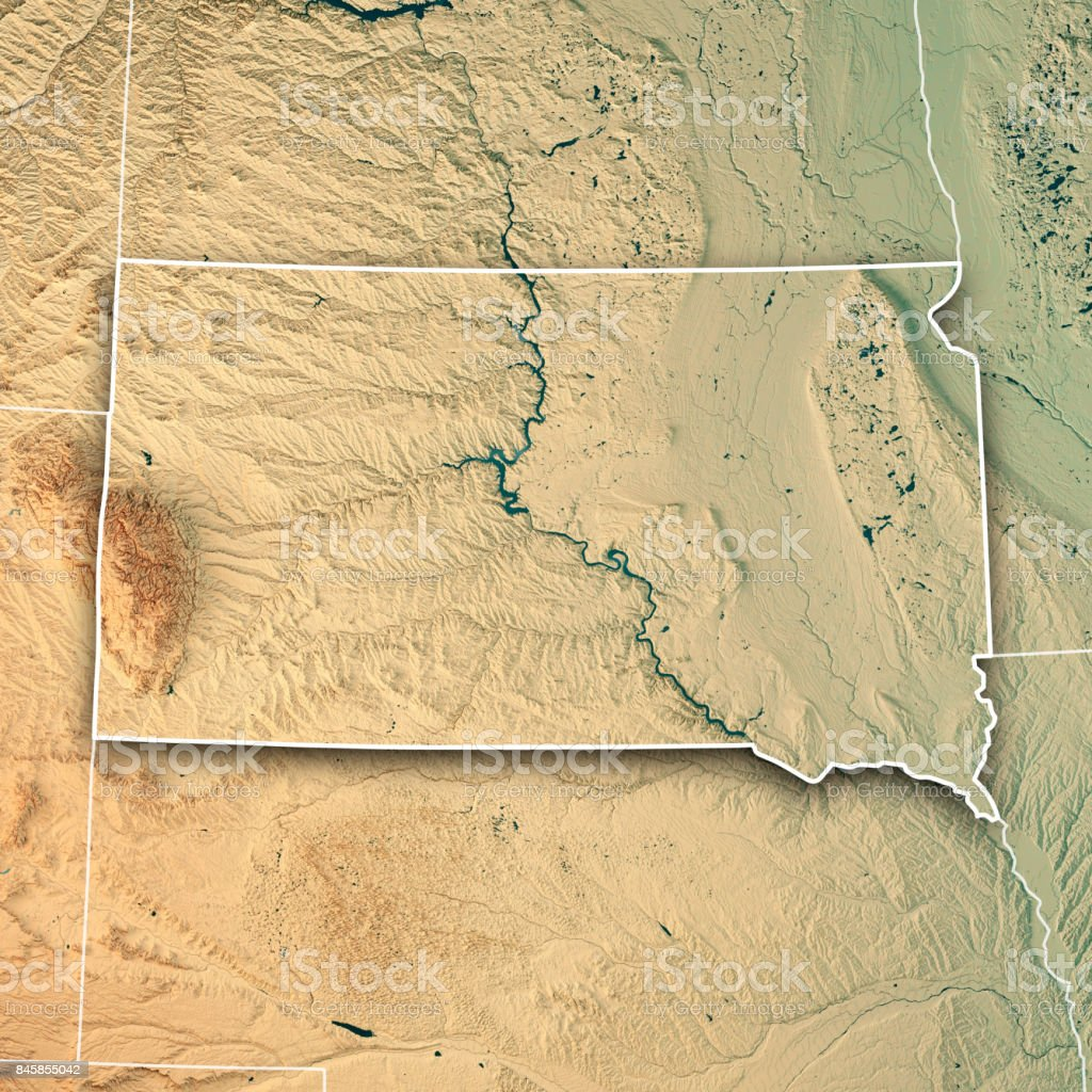 South Dakota State USA 3D Render Topographic Map Border stock photo