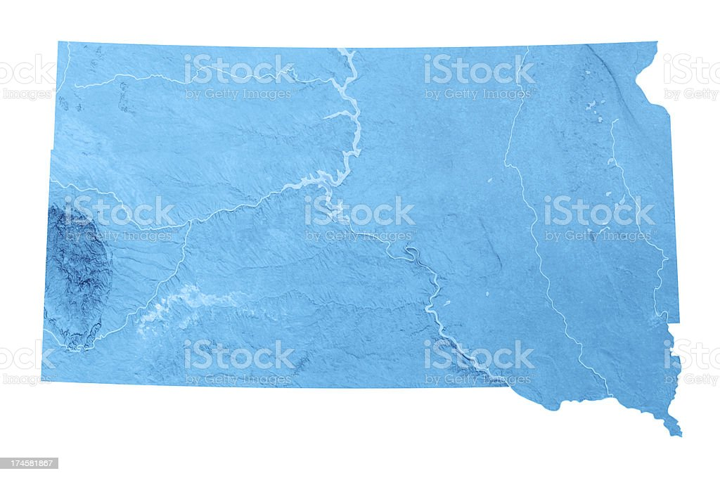 South Dakota Topographic Map Isolated royalty-free stock photo