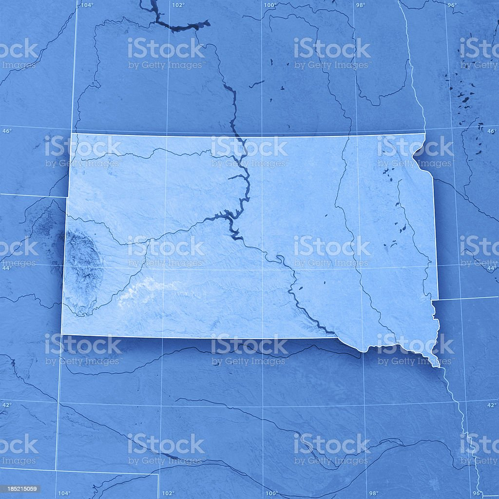 South Dakota Topographic Map stock photo