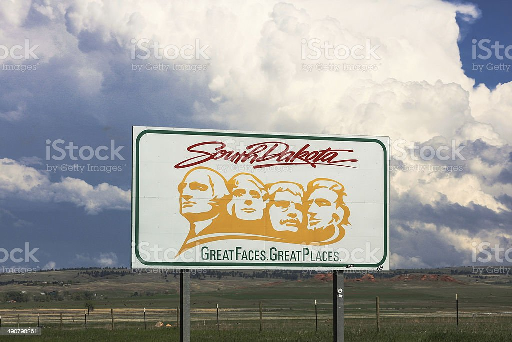 South Dakota Welcome sign from Wyoming stock photo