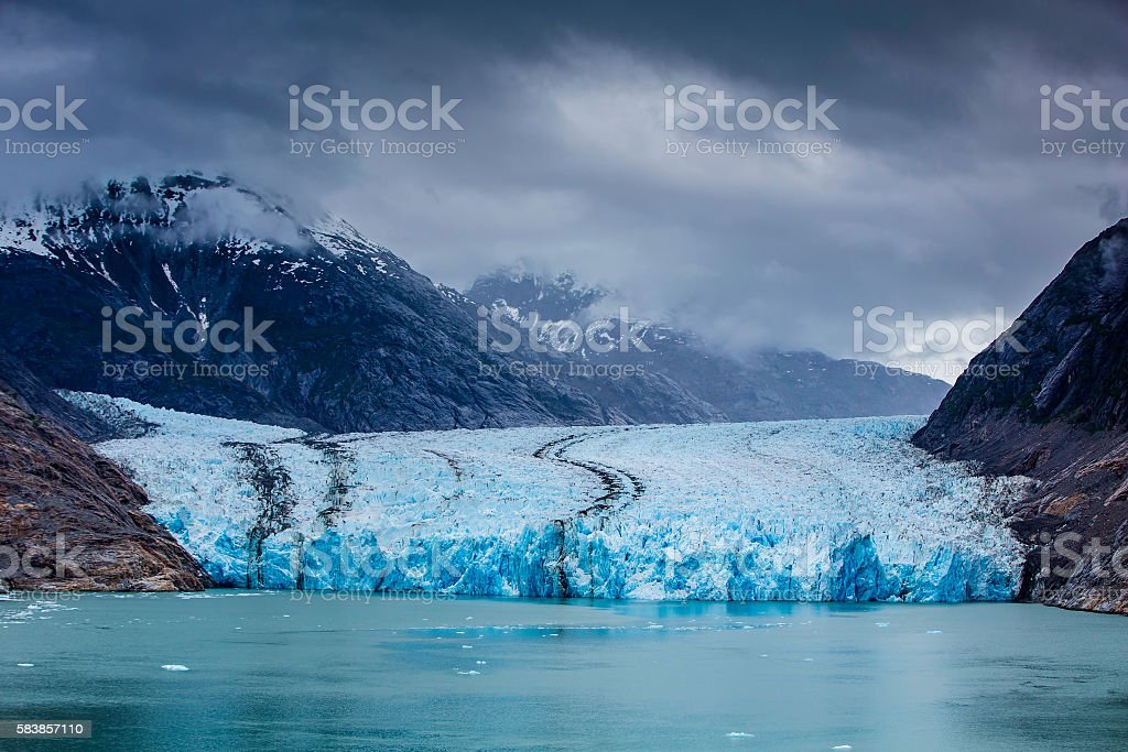 South Dawes Glacier from the Endicott Arm stock photo