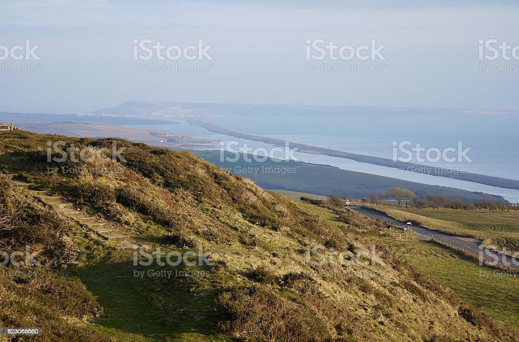 South Dorset Ridgeway footpath overlooking Abbotsbury, the Fleet, Portland stock photo