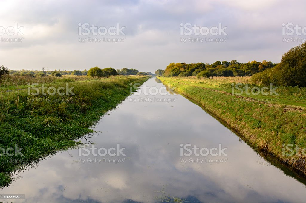South Drain at Shapwick Heath National Nature Reserve stock photo