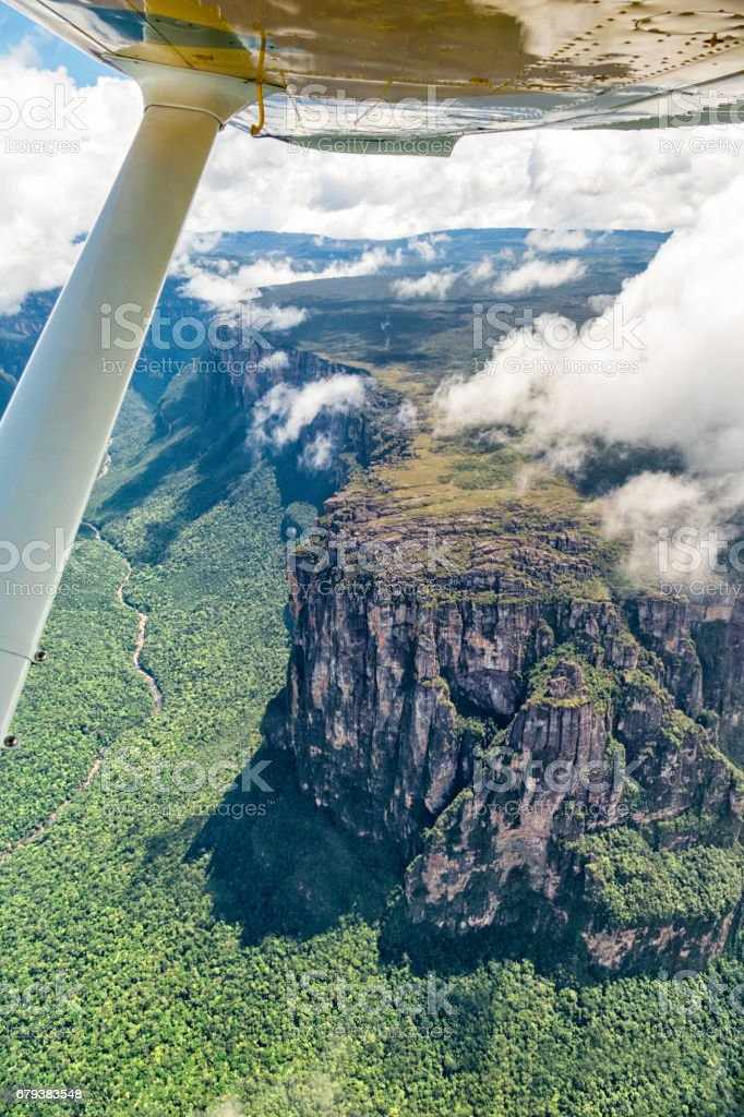 South east face of the Auyan Tepui at El Cañon del Diablo in the side of Angel falls. Venezuela. stock photo