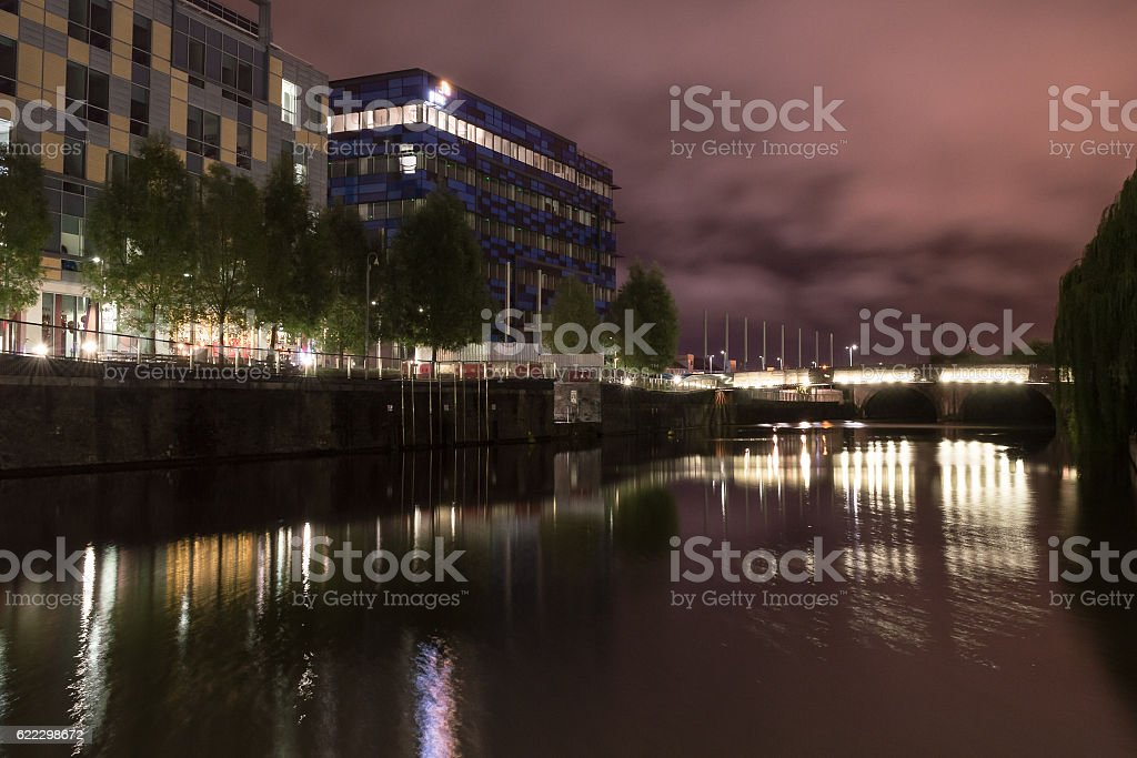 South East Night View over Temple Quay stock photo