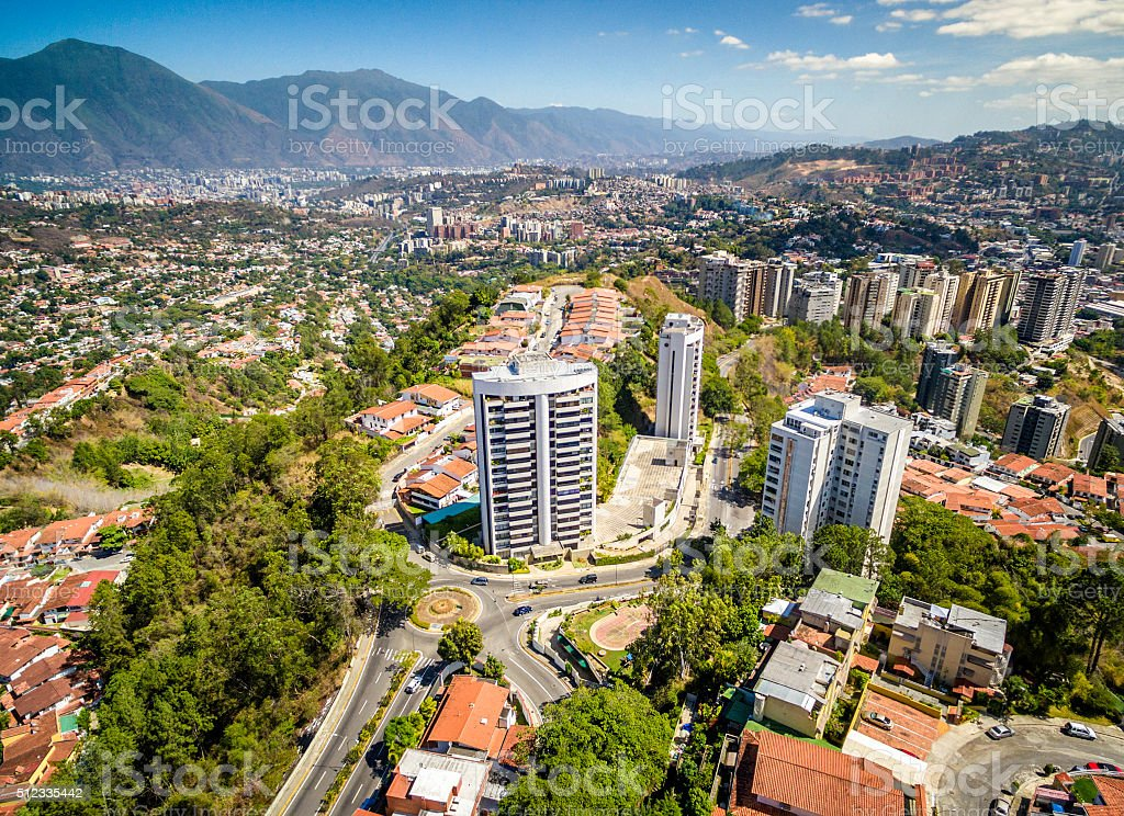 South Eastern Caracas city aerial El Avila at the background stock photo
