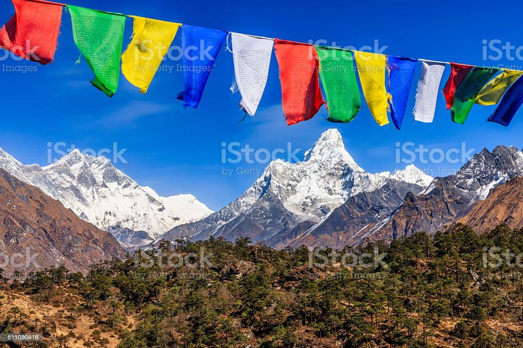 South Face of Lhotse and Mount Ama Dablam,  Himalayas, Nepal stock photo