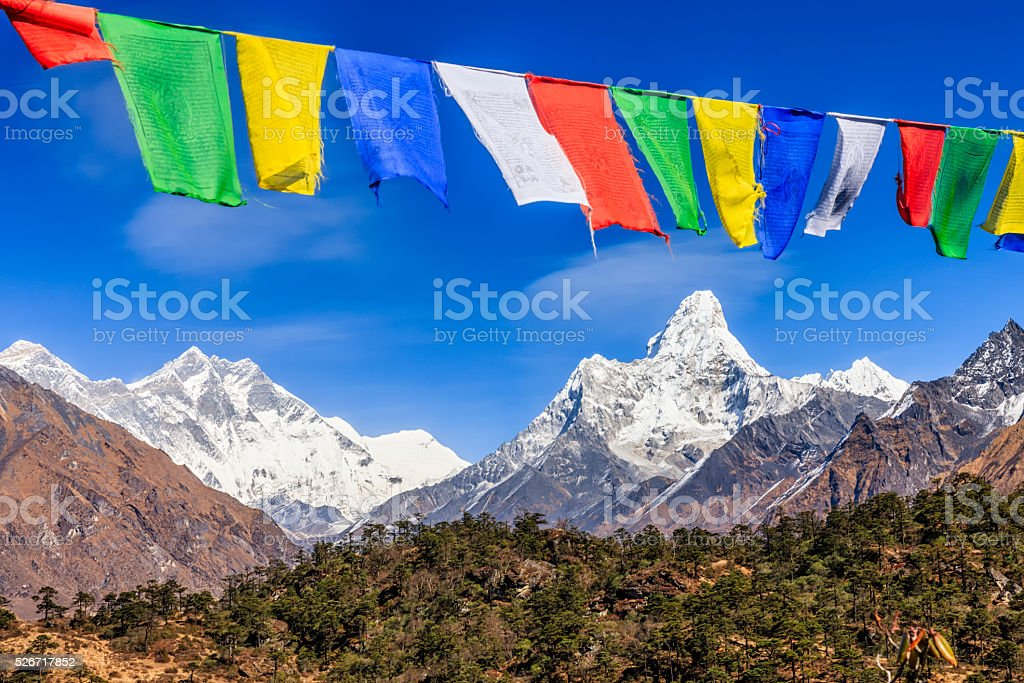 South Face of Lhotse and Mount Ama Dablam,  Himalayas, Nepal stock photo