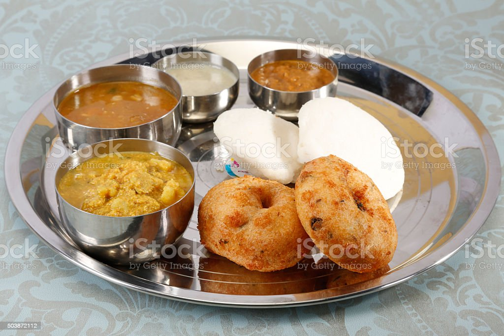 South food platter - aloo kulcha and sambar and coconut chutney stock photo