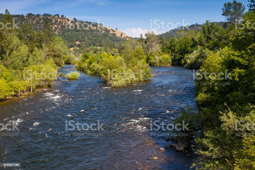 South Fork of the American River near Marshall Gold Discovery State Historic Park. A popular place to pan for gold. stock photo