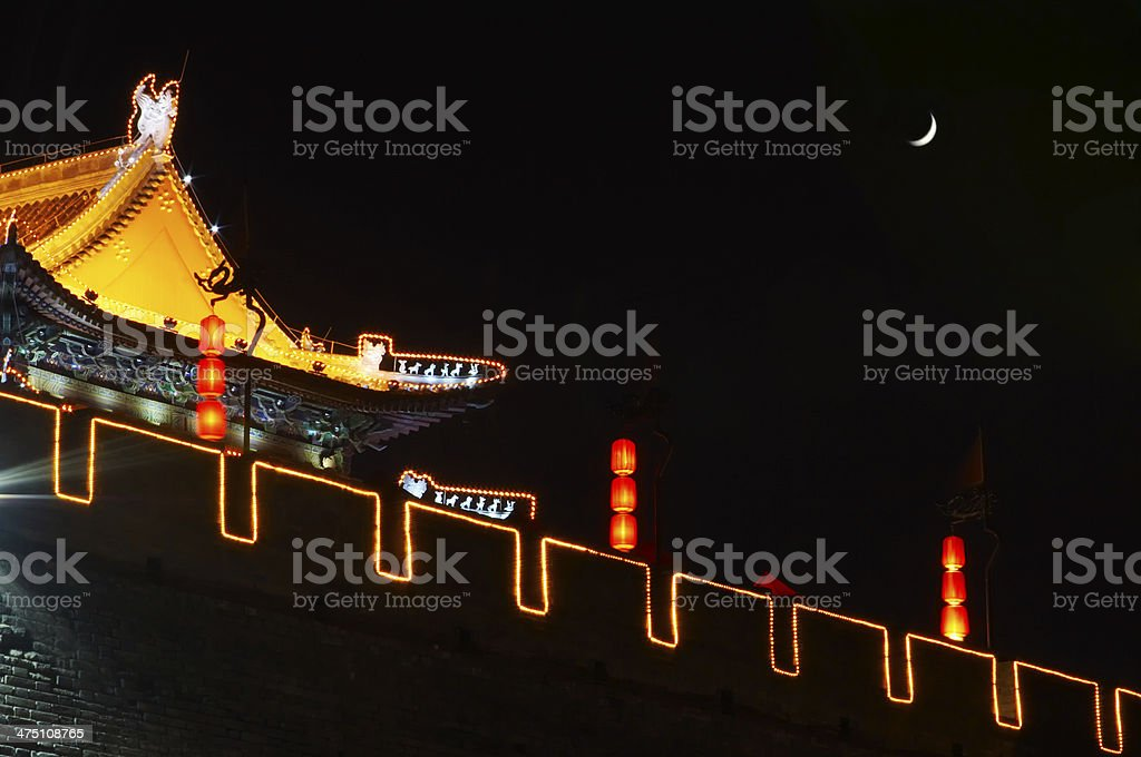 South gate of Xi'an at night stock photo