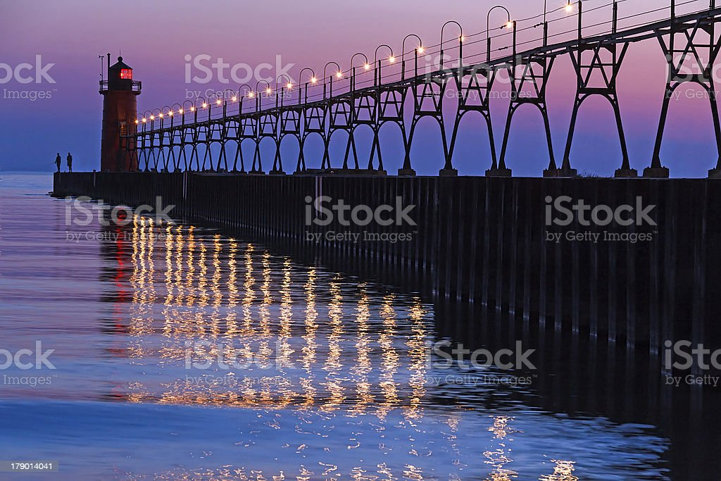 South Haven Lighthouse after Sundown stock photo