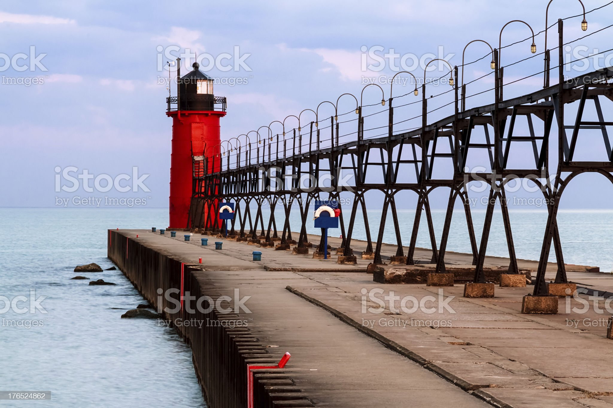 South Haven Lighthouse with Catwalk royalty-free stock photo