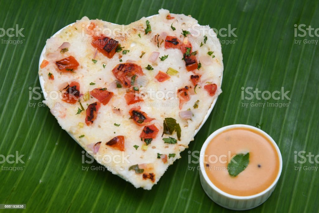 South Indian breakfast Oothappam or Dosa stock photo
