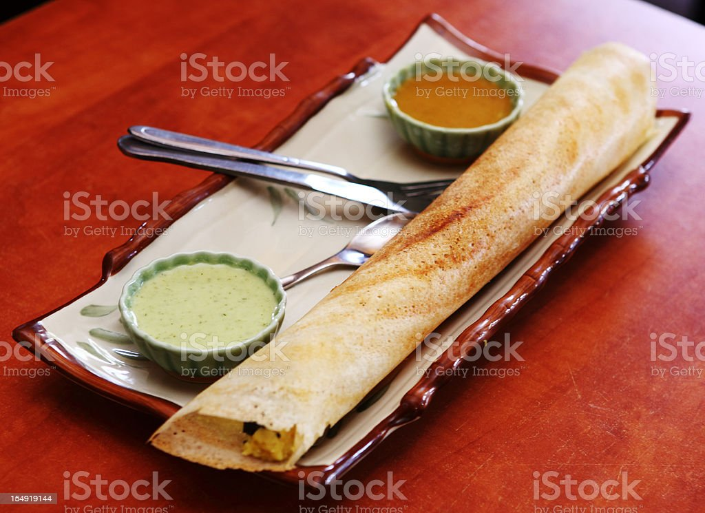 South Indian snacks Masala Dosa stock photo