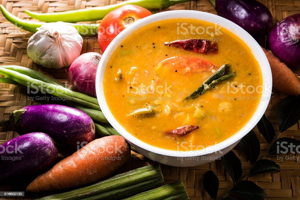 south indian vegetable sambar stock photo