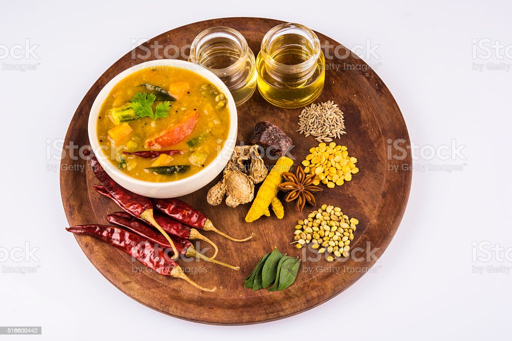 south indian vegetable sambar stock photo