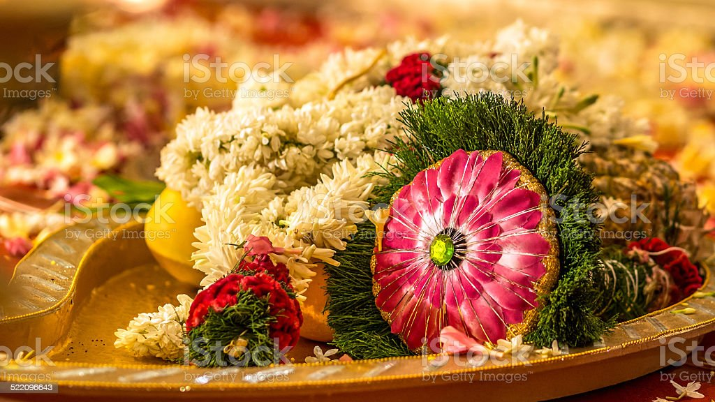 South Indian wedding bouquet during ritual stock photo
