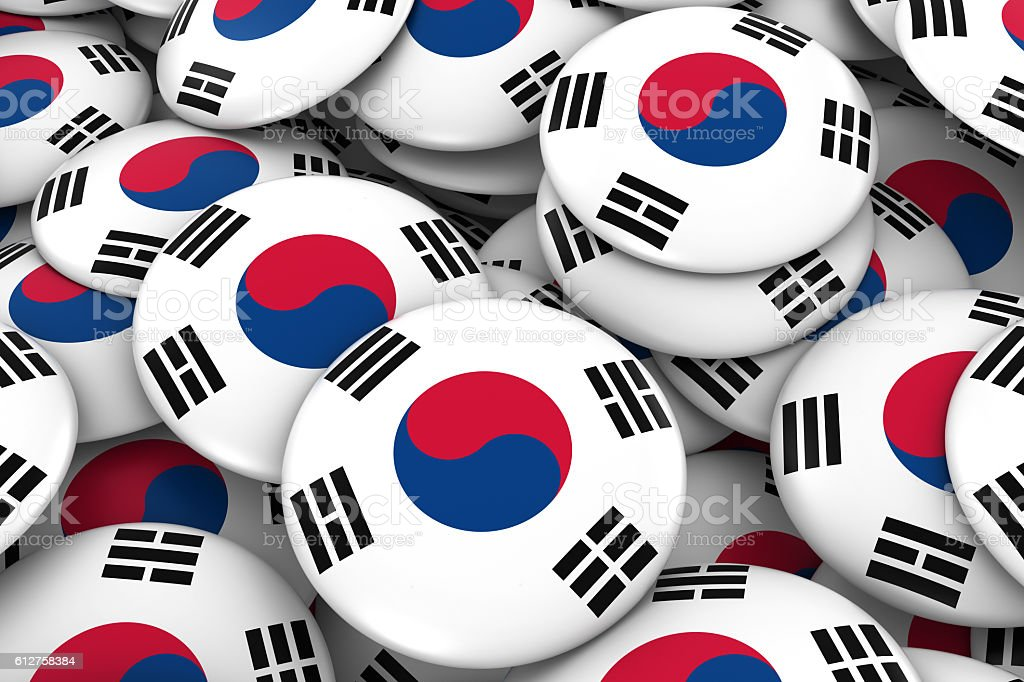 South Korea Badges Background Pile of South Korean Flag Buttons stock photo