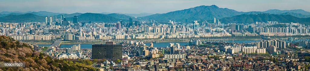 South Korea crowded skyscraper cityscape panorama along Han River Seoul stock photo