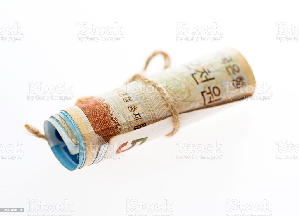 South Korea currency rolled stock photo