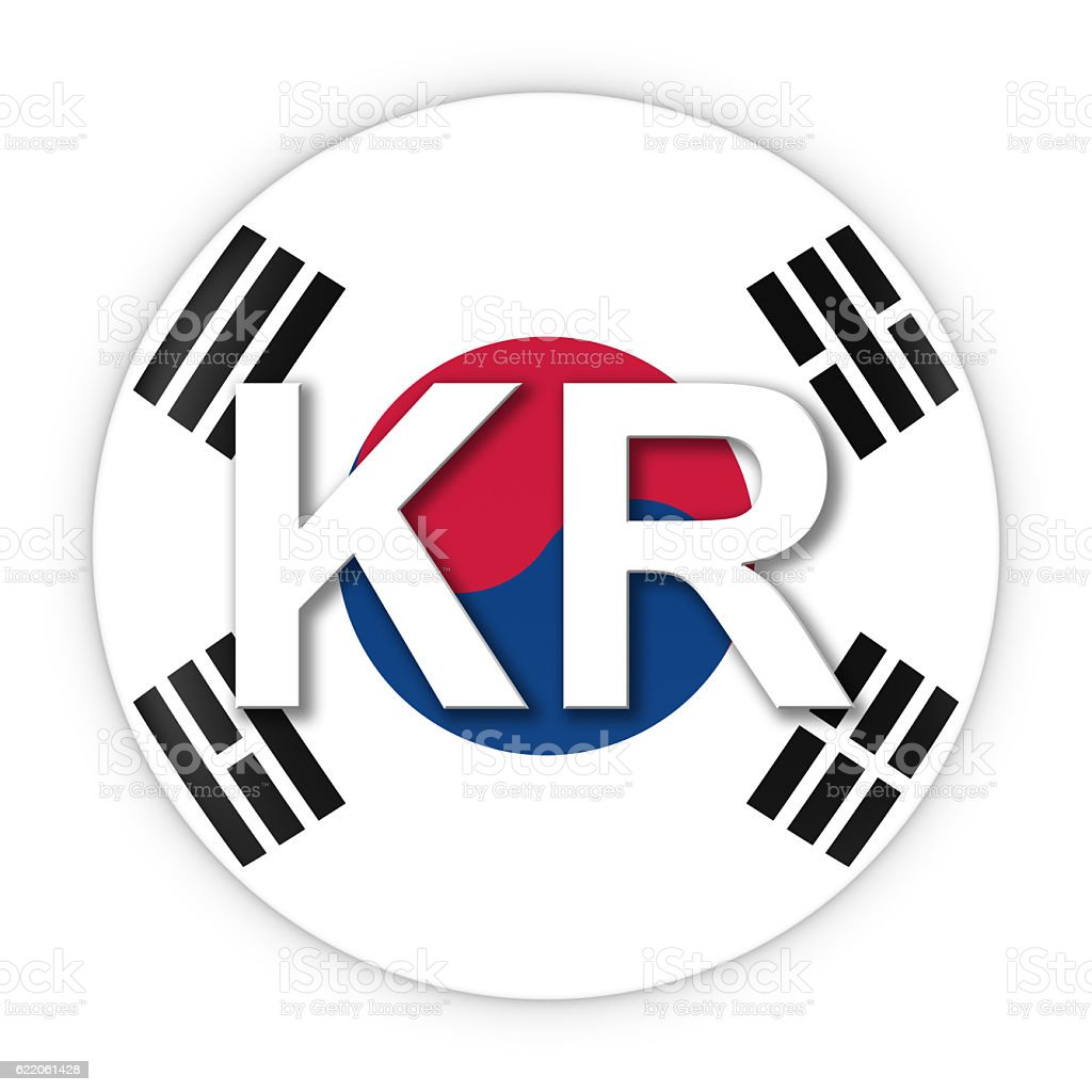 South Korea Flag Button with Two Letter Country ISO Code stock photo