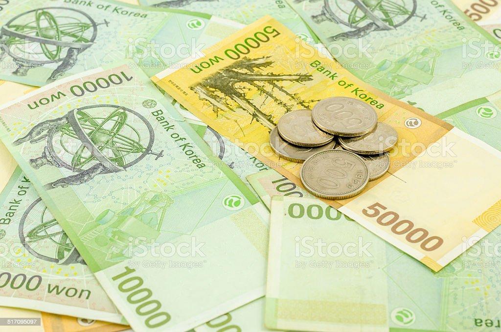 South korea Won cash stock photo