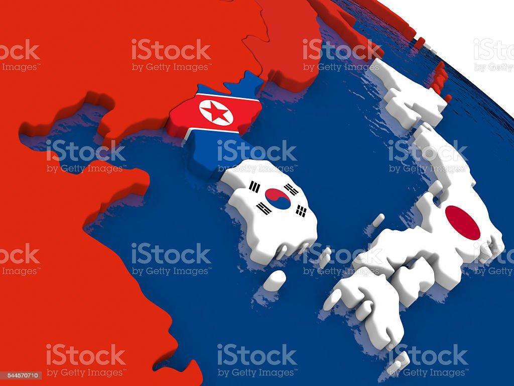 South Korean and North Korea on 3D map with flags stock photo