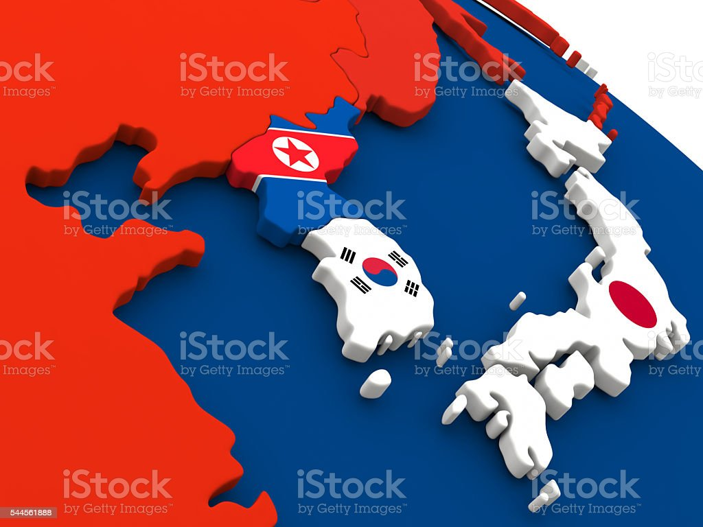 South Korean and North Korea on globe with flags stock photo