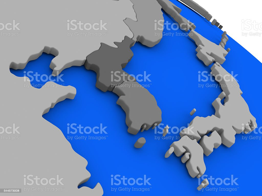 South Korean and North Korea on political Earth model stock photo