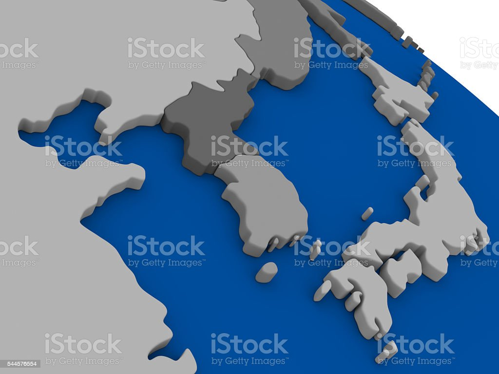 South Korean and North Korea on political map stock photo