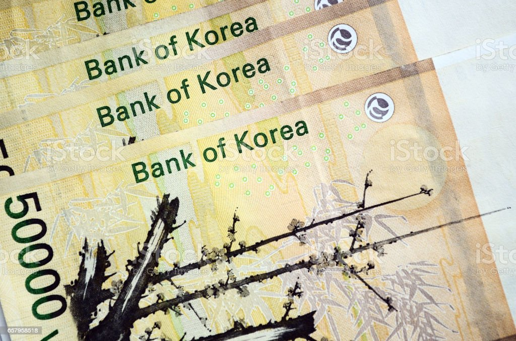 South Korean currency fifty thousand Korean won stock photo