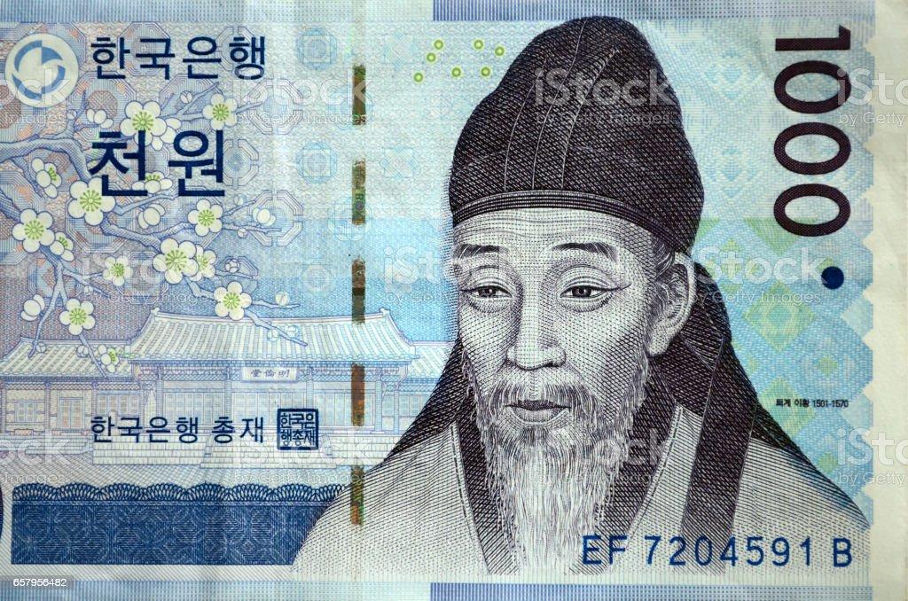 South Korean currency one thousand Korean won stock photo