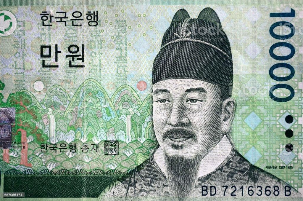 South Korean currency ten thousand Korean won stock photo
