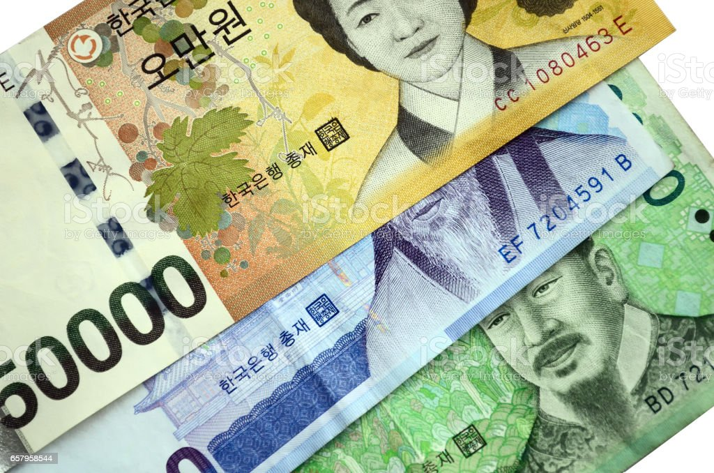 South Korean Currency Won stock photo