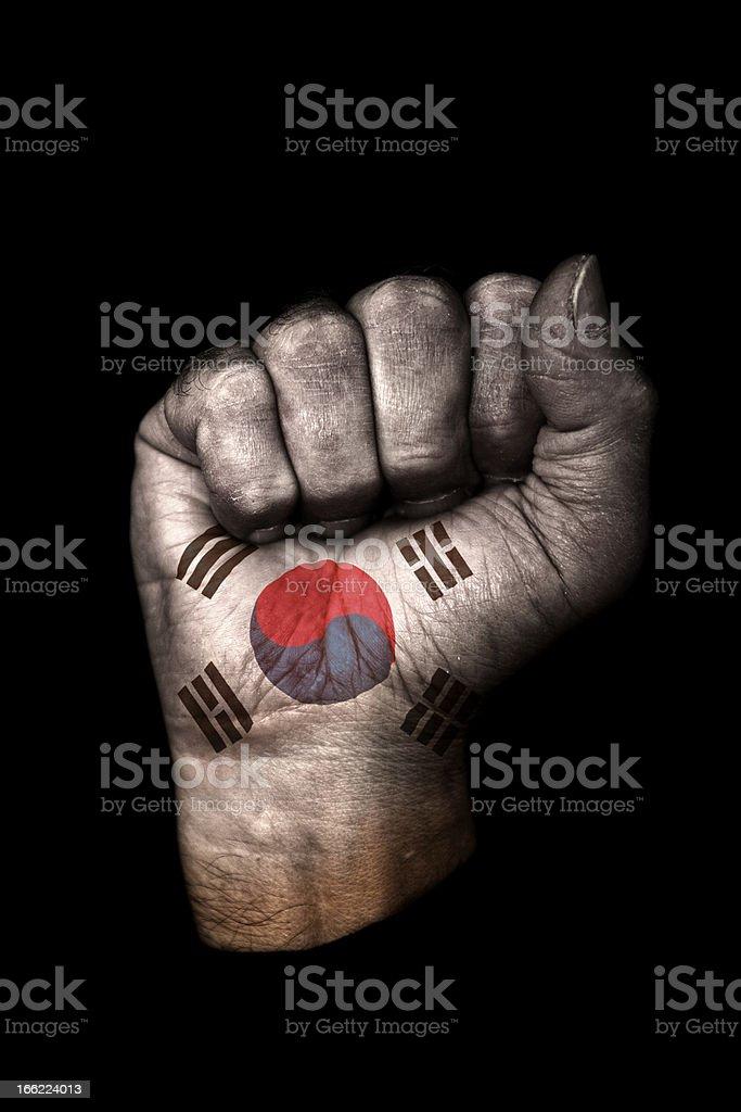 South Korean Flag Fist royalty-free stock photo