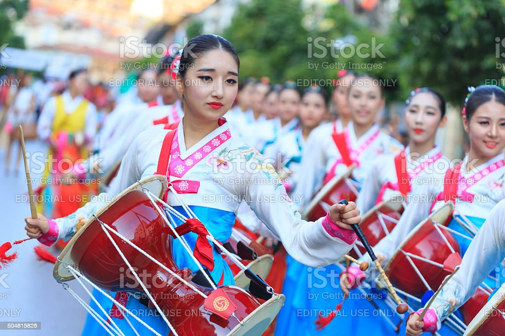 South Korean Group taking part in festival's parade stock photo