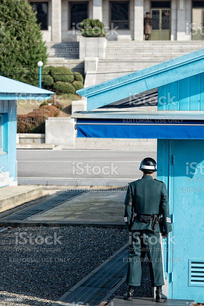 South Korean Soldier at JSA stock photo
