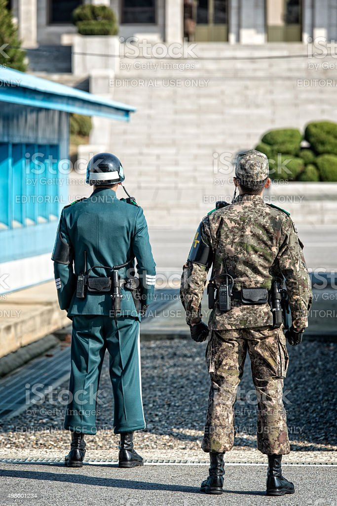 South Korean Soldiers at JSA stock photo