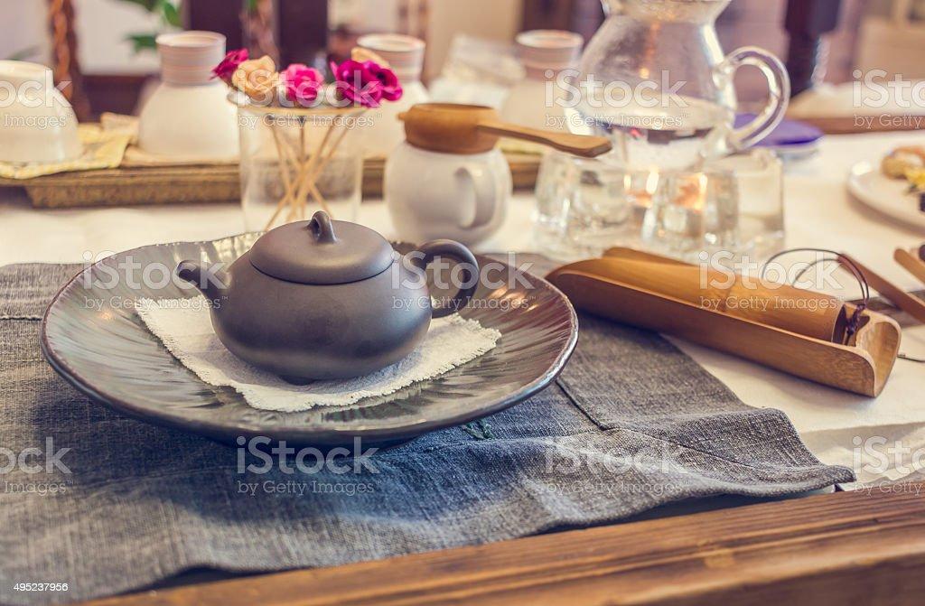 South korean tea ceremony table, vintage toning stock photo